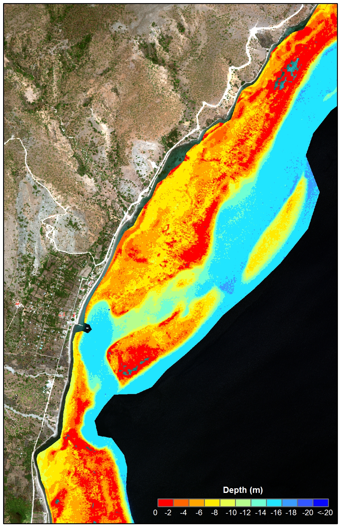 An example of the bathymetry data generated for Timor-Leste from WorldView-2 satellite imagery.