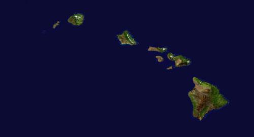 Hawaiian Islands Satellite Map