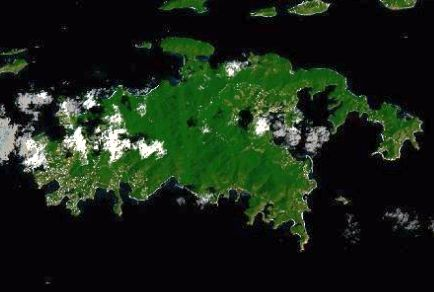 Satellite image of St. John, the third largest of the U.S. Virgin islands